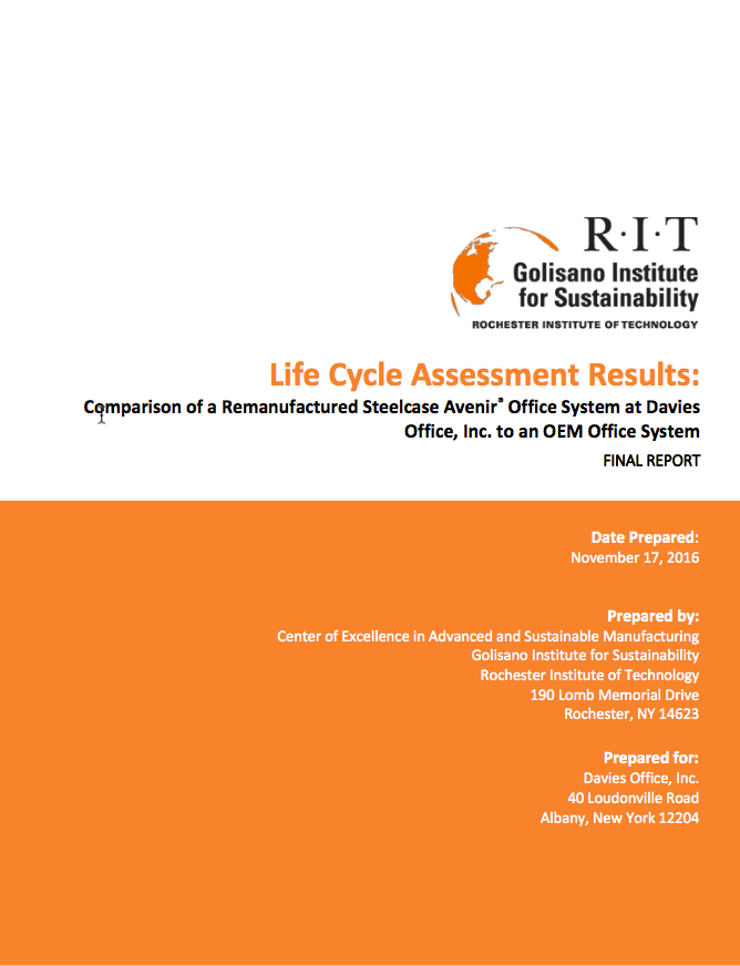 Beautiful Life Cycle Assessment Verifies Competitive Advantage Of Remanufacturing  Business Model | Davies Office